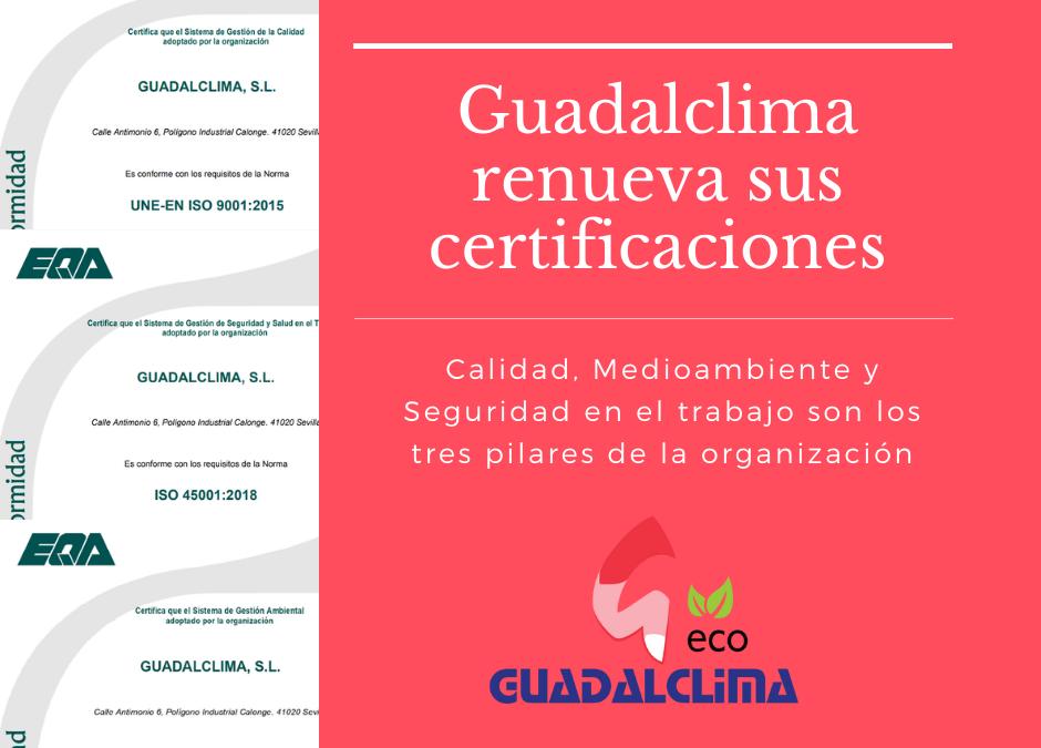 Guadalclima renueva su certificación de calidad, medioambiente y seguridad en el trabajo